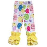 Elastic band kids baby girl clothes leggings ruffles Easter bunny egg design children pants cartoon print toddler trousers