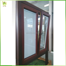 Europe standard sizes double panels with internal blinds casement window, soundproof double glass windows