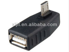 Right Angle 90 degree Micro B male to USB A Female connector adapter