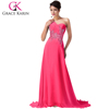 Grace Karin Latest Strapless Chiffon Floor Length A-line Beaded Long Pink Bridesmaid Dress CL4506-6