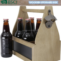 Wooden Beer Caddy Holder Tote Basket