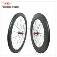 Mixed carbon wheels 50mm 88mm clincher 2016 version with straight pull hub red color