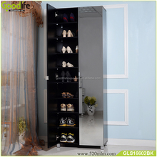 Tall wooden shoe rack shoe cabinet with full length mirror
