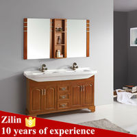 Tempered Glass Door Panel Wood Glass Basin Bathroom Cabinet Brown Mirrored Cabinet Hot Sale Glass Bathroom Cabinet