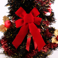 big red velvet Christmas wide ribbon bow