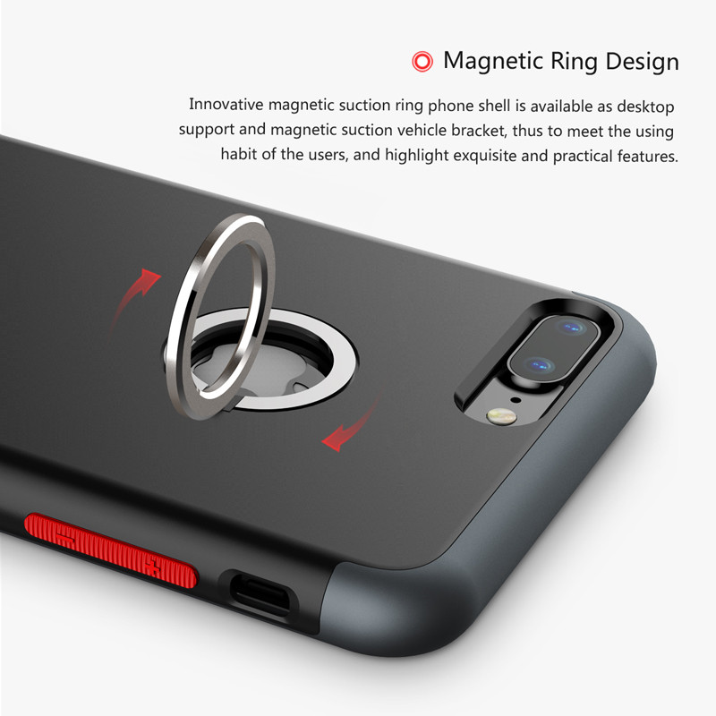 Baseus WIAPIPH7-CH01 Case for iPhone 7 Plus 5.5 inch Mobile Phone Protector Case with Magnetic Ring Bracket Case Finger Holder