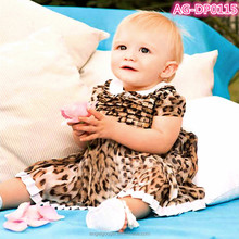 children toddler baby dress model with leopard print 2014 AG-DP0115