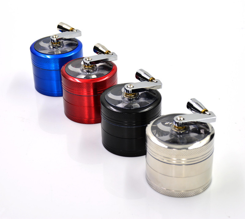 56mm Zinc Alloy Hand Crank Metal Herb Grinders 4 Parts Black Red Blue Silver 4 Colors