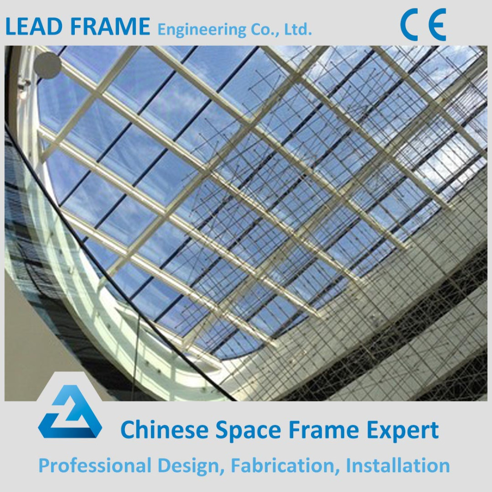 Space Steel Grid Structure Glass Atrium Roof