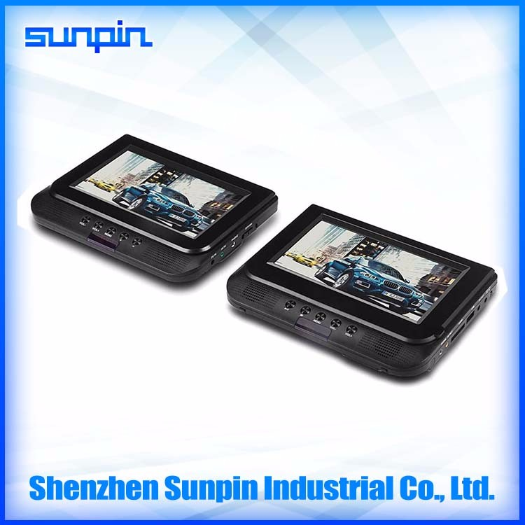 Wholesale price 7 inch twin screen portable headrest movie DVD player with car charger/headrest mount