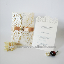 Laser cut invitation card butterfly ribbon elegant lace wedding card with rhinestone