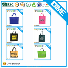 Eco-Friendly OEM Logo Imprinted Promotional Cheap Handmade Fabric Blue Shopping Tote Non Woven Bag