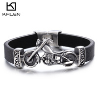 2016 fashion men's motorcycle genuine leather and stainless steel bracelets