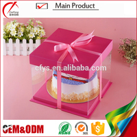 High Quality Transparent Clear PVC Pink Personalized Plastic Cake Boxes with Ribbon Manufacture