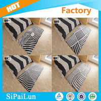 Classic grey striped design 300d polyester yarn 5d tufted shaggy carpet in the philippines