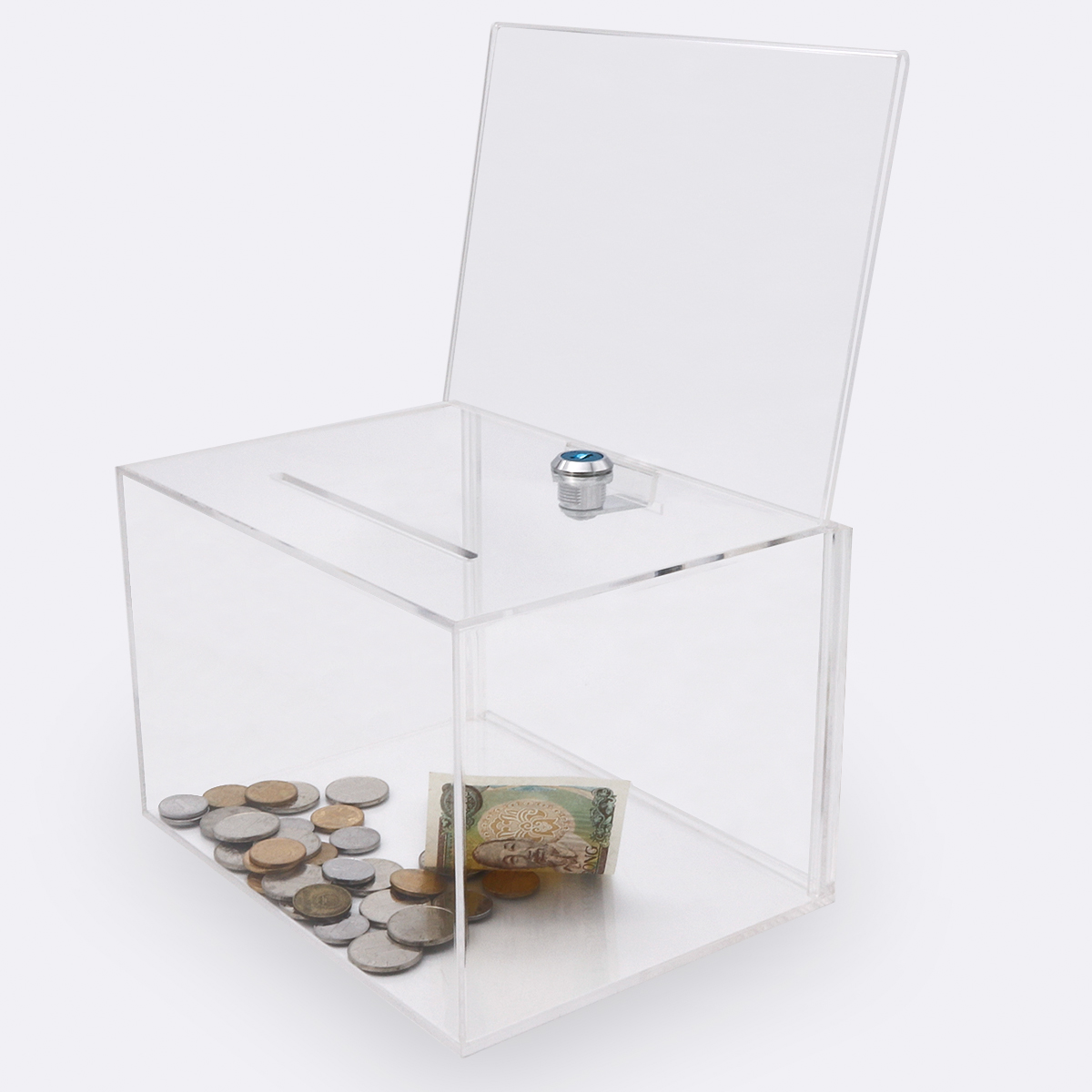 Trade assurance clear acrylic donation box with stand/donation box with lid