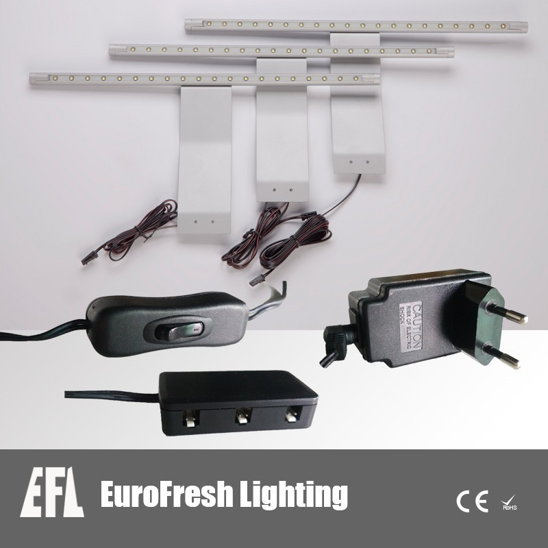 Modern commercial lighting LED aluminum strip with metal plate for kitchen, cabinet, shelf