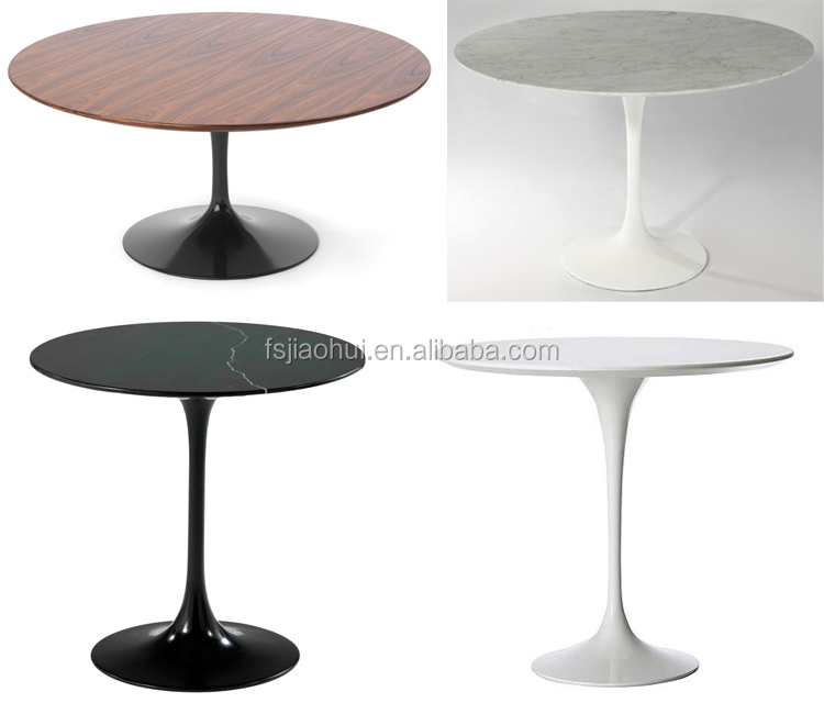 Modern Oval Round Black Marble Metal Base dining table