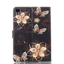 Color Printing Beatiful Card Holder Black PU Leather Flip Case for Apple iPad mini 1 2 3 4 for iPad mini 4 Case Stand Cover