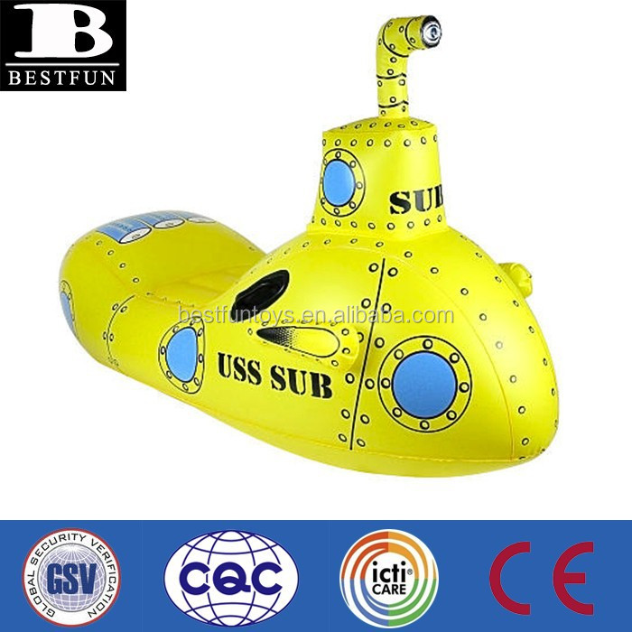 promotional custom made OEM inflatable submarine rider kiddy water rider portable submarine pool ride on toy
