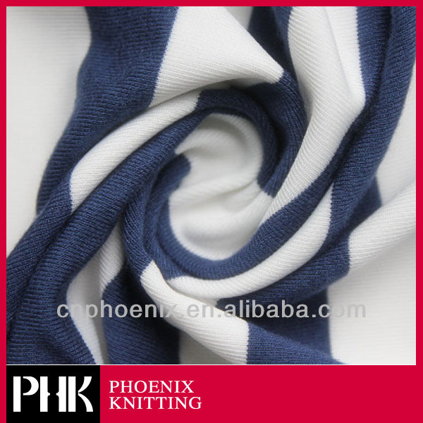 Polyester cotton elastic striped single jersey knit fabric
