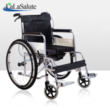 Patient folding manual wheelchair with potty thickening steel tube elderly disabled wheelchair