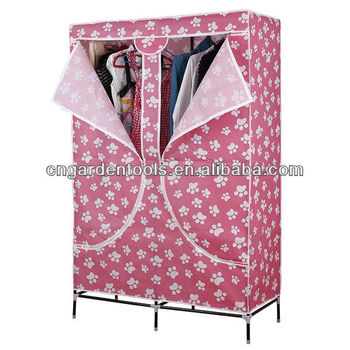 Cheap Folding Cloth Portable Wardrobe with Two Doors