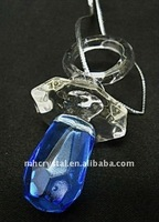 Crystal Glass Baby Pacifier Blue Hanging Figurine,crystal dummy MH-G0170