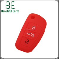 3 buttons silicone car key case silicone key sleeve for Audi flip folding key cover
