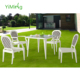 Charming outdoor white Rattan wicker Leisure Square dining table furniture sets