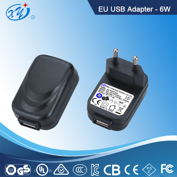 6W AC adapter with EU plug, TUV GS CE approval