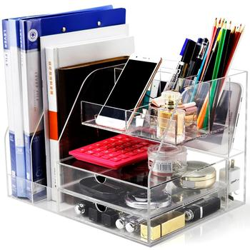 wholesale acrylic clear plastic office desktop storage box