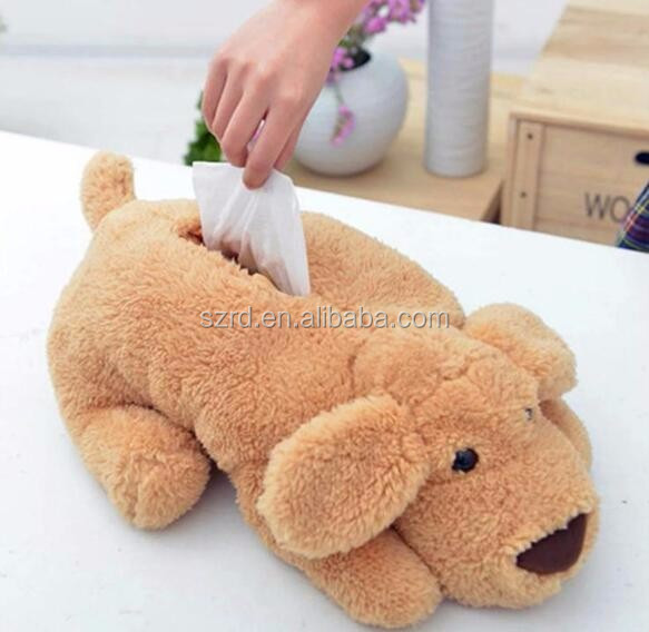 chinchilla plush stuffed toy/plush dog animal shape tissue box/creative design puppy shape cute plush tissue box cover