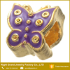 9mm Colorful Epoxy Enamel Metal Butterfly Custom Logo Beads Silver Gold Plated Big Hole Bracelet Beads