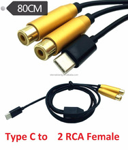 USB TYPE C TO DUAL RCA Female Splitter cable 80cm golden plated