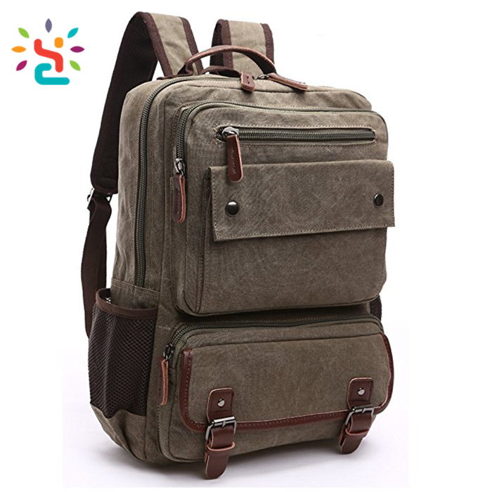 Canvas Vintage Backpack for 17 and 19 inch Laptop rucksack anti theft Bookbag 2017 Latest Ladies Travelling Women knapsack
