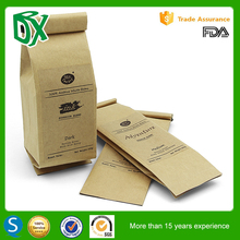 250g/500g/1000g custom design stand up pouch flat bottom coffee bean packaging bag with tin tie