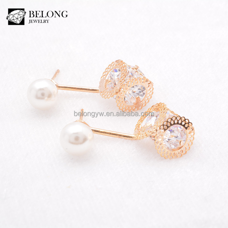 BLJSE0346 pearl jewelry wholesale fashionable designs zirconia pendant earring