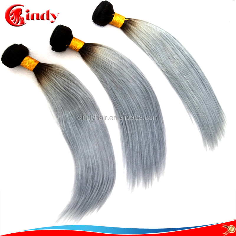Bargain brazilian virgin hair two tone no shedding tangle free grey hair accessories for women on sale