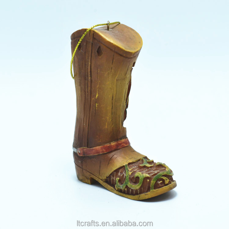 High-Quality Cheap Resin Cowboy Boots for Christmas Decoration
