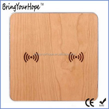 Double use charging 2 phone at same time wooden dual QI wireless charger (XH-PB-131)