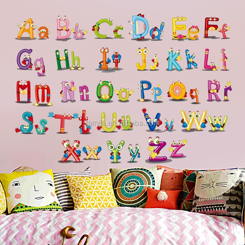 New Hot baby nursery learning letters wall stickers decal decor caroon animals English alphabet wall stickers