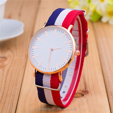 China watch factory promotional men quartz fabric wrist watch for student, wrist watches ladies, charm men watch