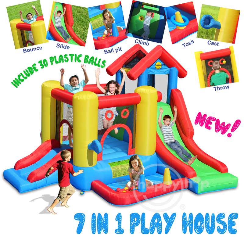 Happy Hop Inflatable Bouncer for Kids -9019 7 in 1 Play House,Multifunctional trampoline