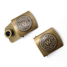 Antique brass custom embossed logo metal cap buckles for 18mm straps
