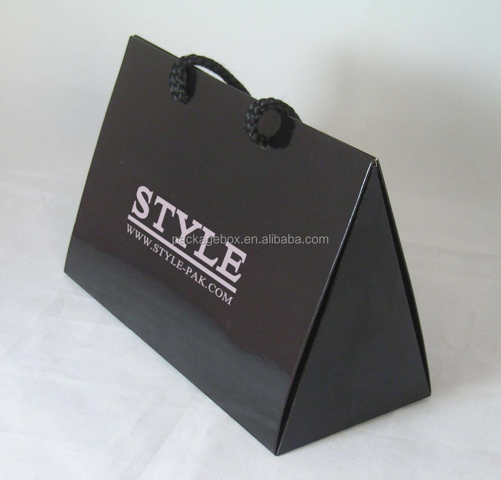 Factory promotion matte black paper bag triangle shape items carry bag printing for luxury triangle bag