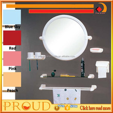 Bathroom Plastic frame Round Mirror with Towel Holder
