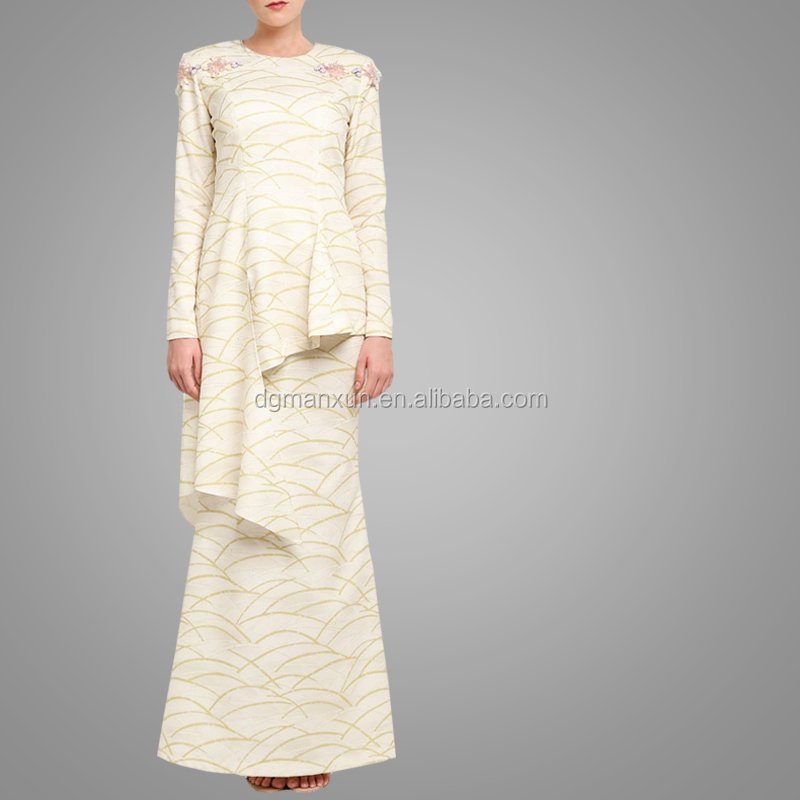 Modern Baju Kebaya Fashion Printing Baju Kurung Peplum Sexy Pictures Of Girls Without Dress Hot Sell Long Sleeve Baju Kurung