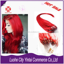 "18"" Loop Micro Ring Beads Tipped Remy Human Hair Extensions 100% Human + Red"