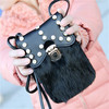2015 fashion cell phone bag with fur, crystal shoulder bag for ladies